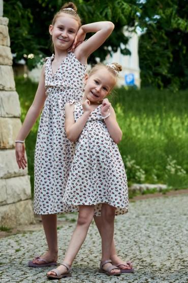 Zestaw letnich sukienek dla dziewczynek z wiązanymi ramiączkami - Berries