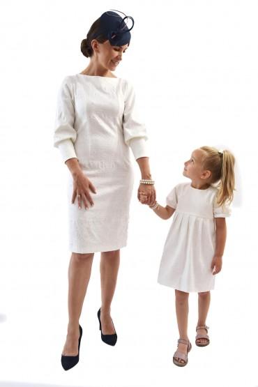 Sukienki dla mamy i córki Królewska Perła Ecru