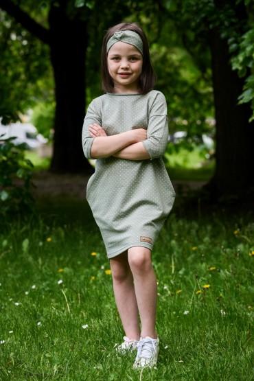 Girl's tunic dress with pockets - pitachio