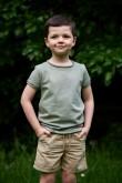 2T shirt dla chłopca - pistacjowo - oliwkowy w kropki