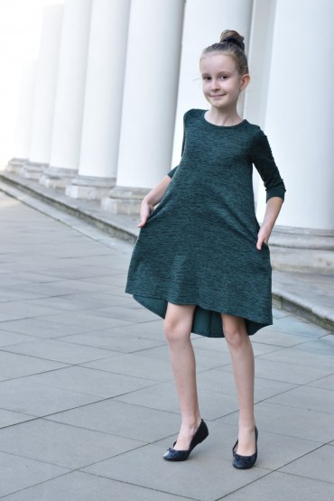 DRESS WITH EXTENDED BACK - GREEN & BLACK
