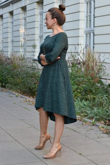 sukienka damska z przedłużonym tyłem