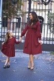 2Sukienki dla mamy i córki - rozkloszowane z paskiem - burgund