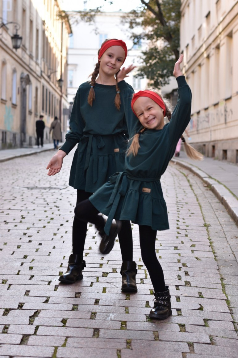 2A set of the same dresses with a frill for sisters in bottle green