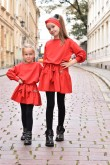 2A set of the same dresses with a frill for sisters in red
