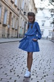 2Loose dress with a frill and belt for girls - blue