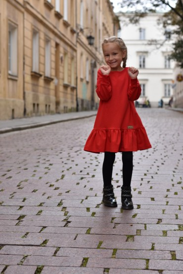 Loose dress with a frill and belt for girls - red