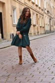 2Loose dress with a frill - green