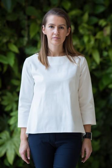 Bluzka damska z kontrafałdą - trzy wersje kolorystyczne
