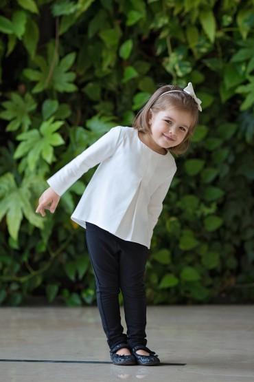 Bluzka z kontrafałdą dla dziewczynki - trzy wersje kolorystyczne