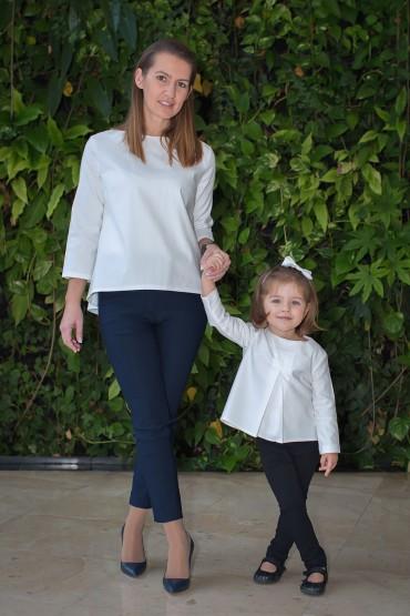 """Komplet bluzek dla mamy i córki """"Śmietankowa Biel"""""""