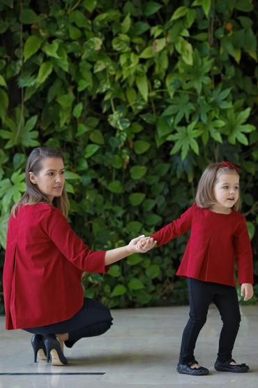 """Komplet bluzek dla mamy i córki """"Głęboka Czerwień"""""""