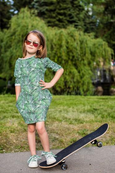 Dresowa sukienka typu tunika z kieszeniami dla dziewczynki