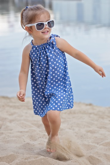 Trapezoid blue polka dot dress with binding