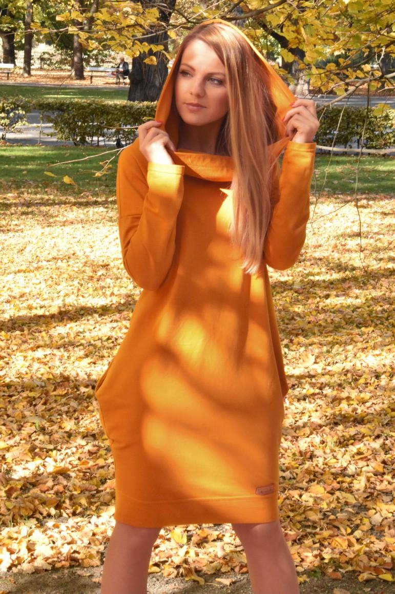 2Women's hooded tracksuit tunic - Caramel